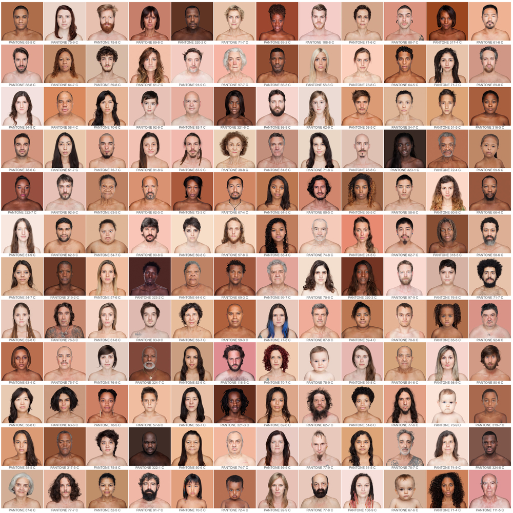 """HUMANÆ - WORK IN PROGRESS    Humanæis a """"work in progress"""" by the Brazilian Angélica Dass, who intends to deploy a chromatic range of the different human skin colors. Those who pose are volunteers who have known the project and decide to participate. There is no previous selection of participants and there are no classifications relating to nationality, gender, age, race, social class or religion. Nor is there an explicit intention to finish it on a specific date. It is open in all senses and it will include all those who want to be part of this colossal global mosaic. The only limit would be reached by completing all of the world's population.  A photographic taxonomy of these proportions has been rarely undertaken; those who preceded Angélica Dass were characters of the 19th century that, for various reasons - legal, medical, administrative, or anthropological - used photographs to establish different types of social control of the power. The best-known is that of the portraits of identity, initiated by Alphonse Bertillon and now used universally. However, this taxonomy close to Borges´ world, adopts the format of the PANTONE ® guides, which gives the collection a degree of hierarchical horizontality that dilutes the false preeminence of some races over others based on skin color or social condition.  These guidelines have become one of the main systems of color classification, which are represented by means of an alphanumeric code, allowing to recreate them accurately in any medium: is a technical-industrial standard. The process followed in Humanæalso is rigorous and systematic: the background for each portrait is tinted with a color tone identical to a sample of 11 x 11 pixels taken from the face of the photographed. Aligned as in the famous samples, its horizontality is not only formal also is ethical.  Thus, without fuss, with the extraordinary simplicity of this semantic metaphor, the artist makes an """"innocent"""" displacement of the socio-political context of """